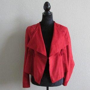 Faux Suede Drape Front Jacket